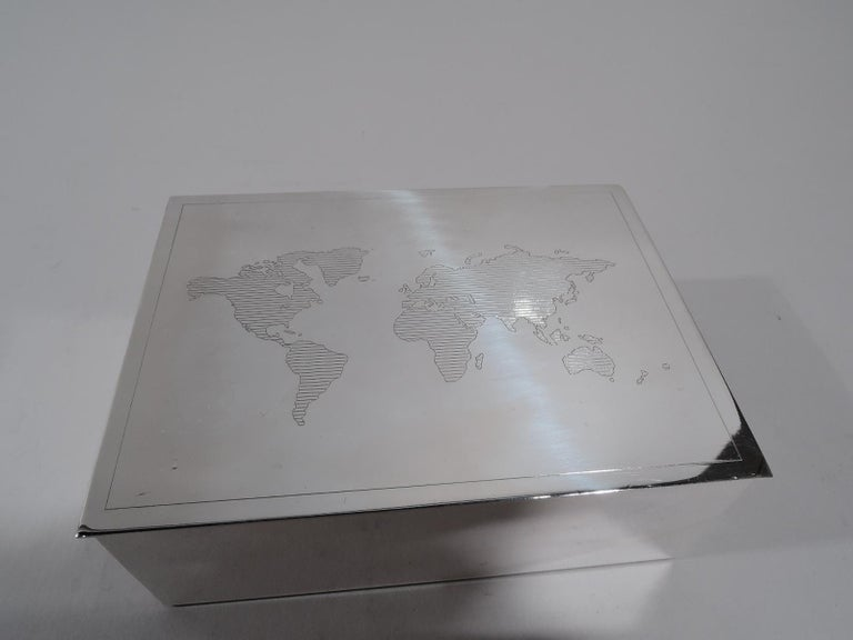 Italian Tiffany Modern Sterling Silver Desk Box with World Map For Sale