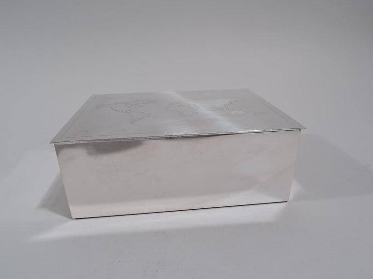 Tiffany Modern Sterling Silver Desk Box with World Map In Excellent Condition For Sale In New York, NY