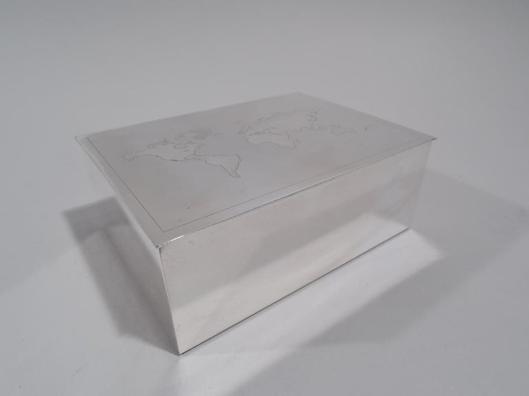 20th Century Tiffany Modern Sterling Silver Desk Box with World Map For Sale