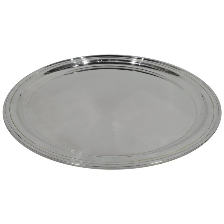 Tiffany Modern Sterling Silver Round Serving Tray For Sale