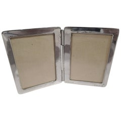 Tiffany Modern Sterling Silver Traveling Double Diptych Picture Frame