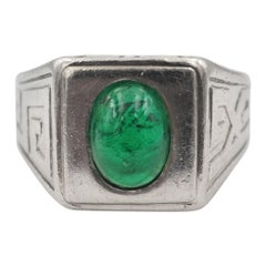Tiffany & Co. No-Oil Colombian Emerald Cab Art Deco Men's Ring