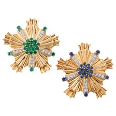 Tiffany Pair of Sapphire Emerald Diamond Gold Brooches