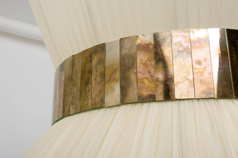 Modern  Tiffany Hanging Lamp 80 cm ivory Silk and Silvered Glass Handmade in Tuscany  For Sale