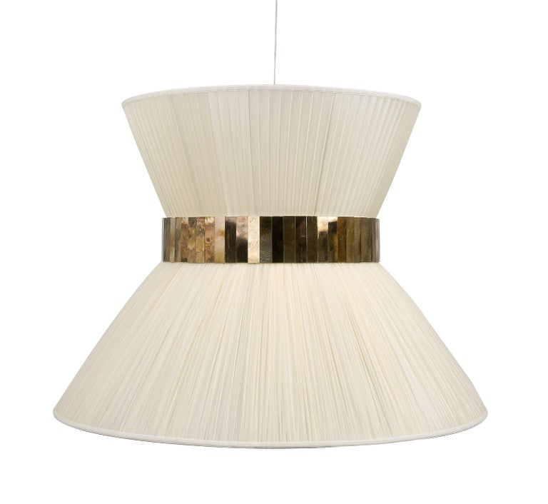 Italian  Tiffany Hanging Lamp 80 cm ivory Silk and Silvered Glass Handmade in Tuscany  For Sale