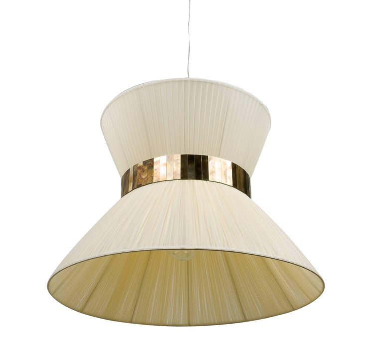 Tiffany Hanging Lamp 80 cm ivory Silk and Silvered Glass Handmade in Tuscany  In New Condition For Sale In Pietrasanta, IT