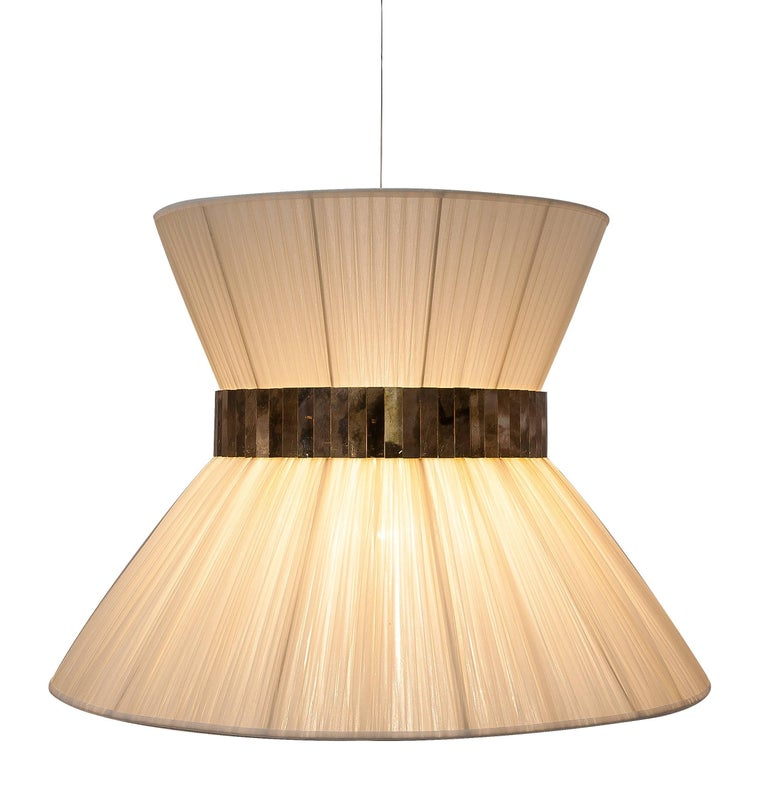 Brass  Tiffany Hanging Lamp 80 cm ivory Silk and Silvered Glass Handmade in Tuscany  For Sale