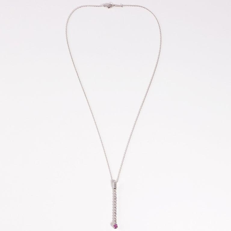 Tiffany & Co. Platinum, Pink Sapphire, Diamond Necklace In Good Condition For Sale In Dallas, TX