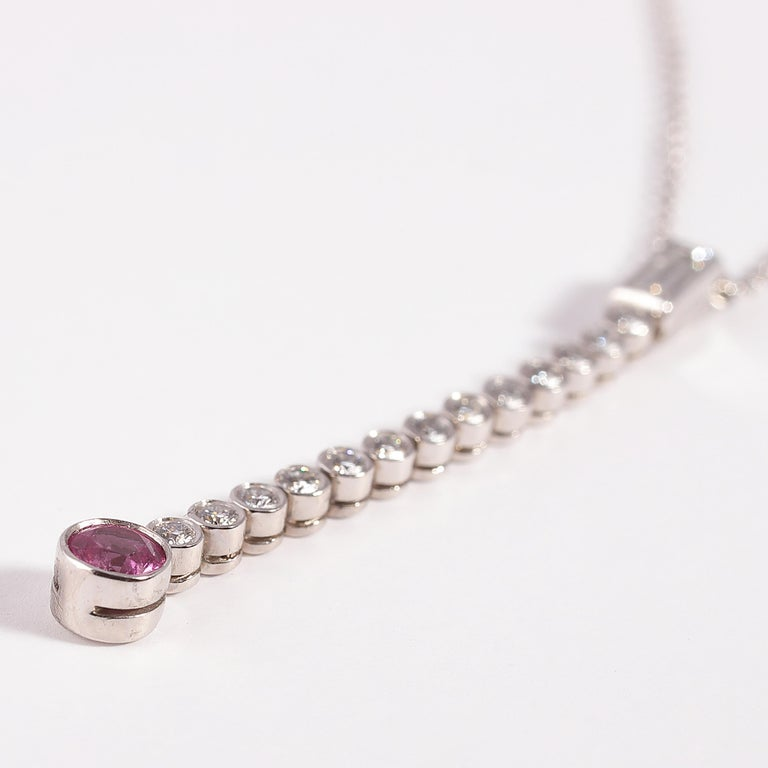 Tiffany & Co. Platinum, Pink Sapphire, Diamond Necklace For Sale 2
