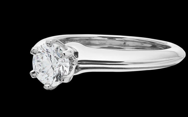 Modern Tiffany Platinum single stone/Solitaire round brilliant 0.69ct H IF diamond ring For Sale