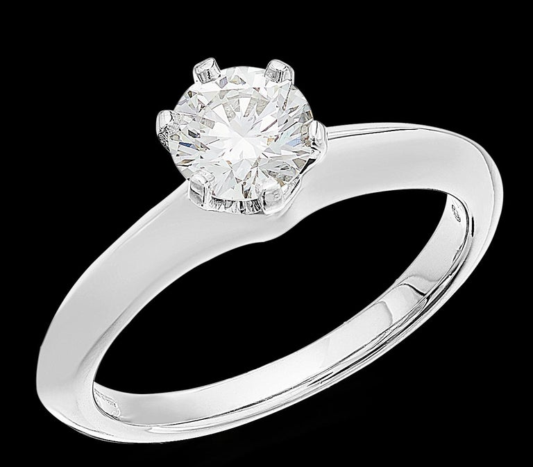Round Cut Tiffany Platinum single stone/Solitaire round brilliant 0.69ct H IF diamond ring For Sale