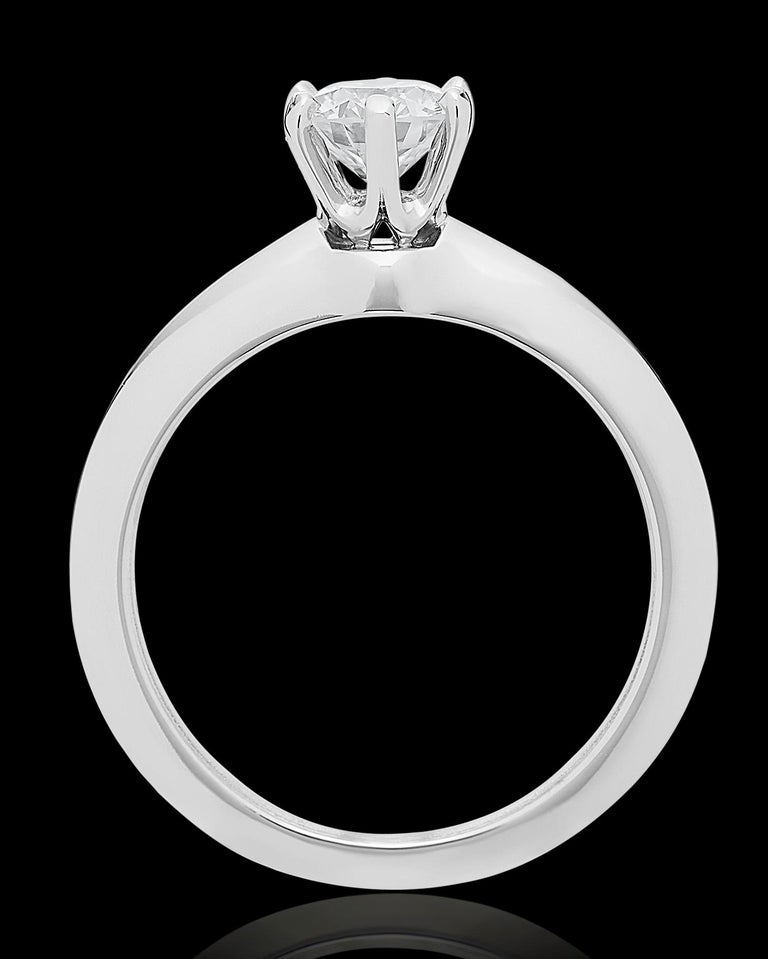 Tiffany Platinum single stone/Solitaire round brilliant 0.69ct H IF diamond ring In Excellent Condition For Sale In London, GB