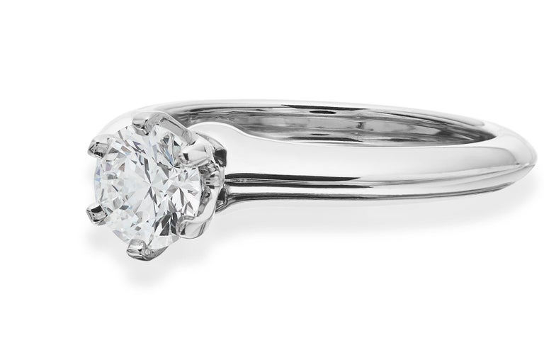Women's Tiffany Platinum single stone/Solitaire round brilliant 0.69ct H IF diamond ring For Sale