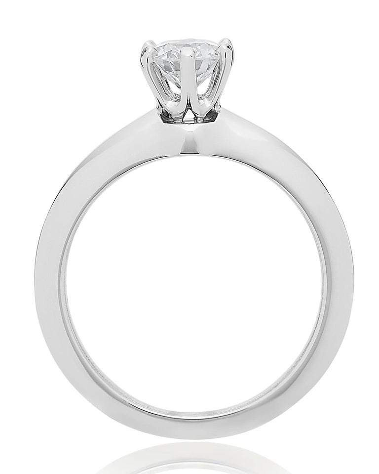 Tiffany Platinum single stone/Solitaire round brilliant 0.69ct H IF diamond ring For Sale 2