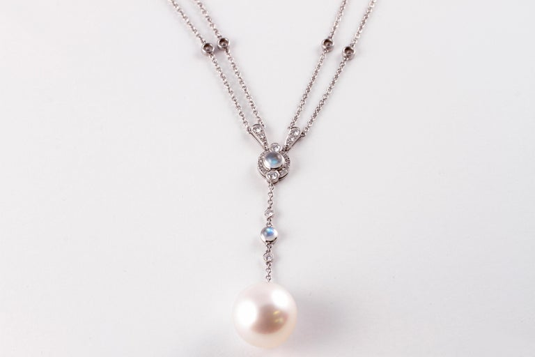 Tiffany Platinum South Sea Pearl Moonstone 3.02 Carat Diamond Necklace In Good Condition For Sale In Dallas, TX