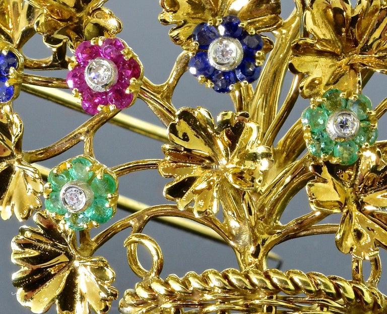 Tiffany Retro Ruby, Sapphire, Emerald, Diamond Brooch, circa 1965 For Sale 5