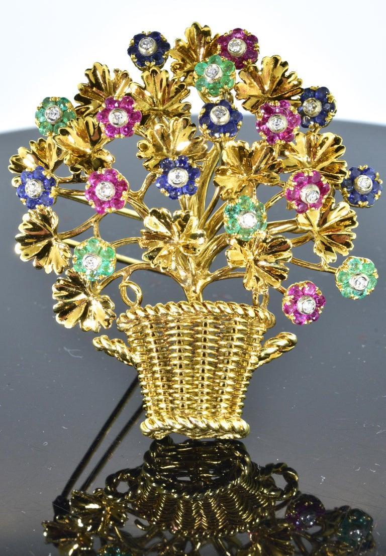 Tiffany Retro Ruby, Sapphire, Emerald, Diamond Brooch, circa 1965 For Sale 6
