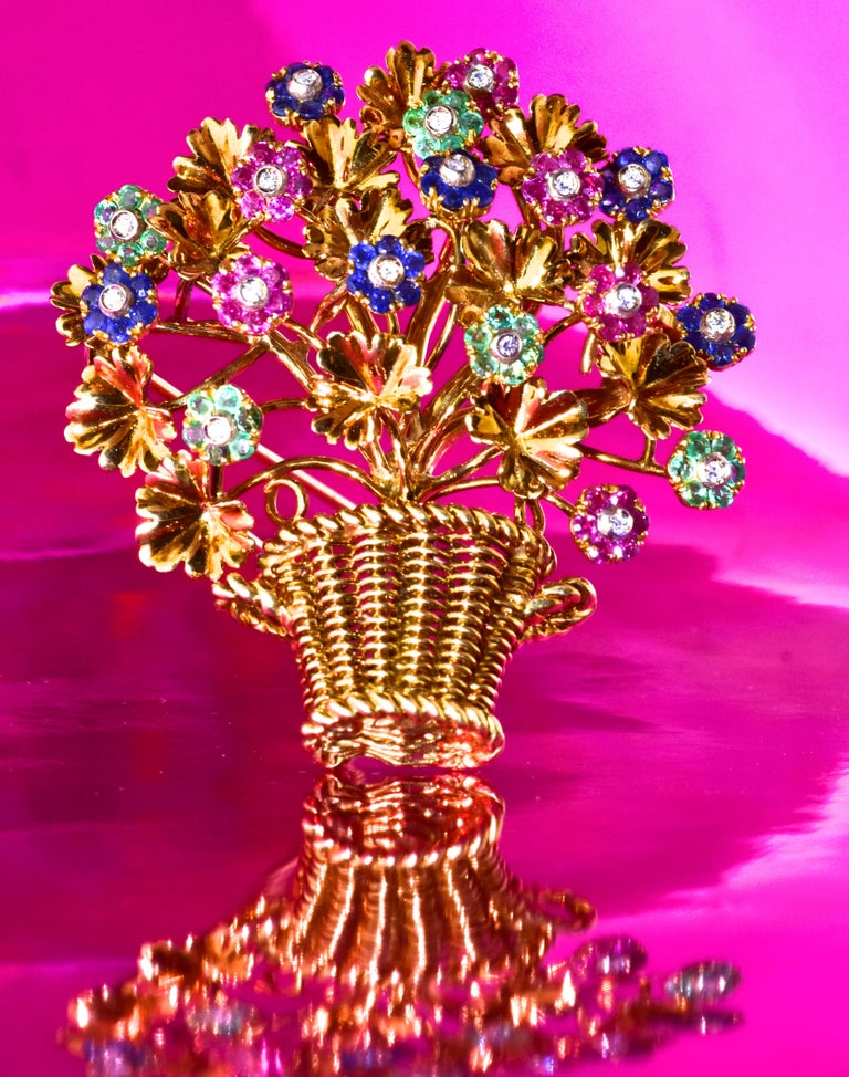 Tiffany & Co. 18K large brooch of a basket of flowers - en tremblant - the flower buds are set so that they