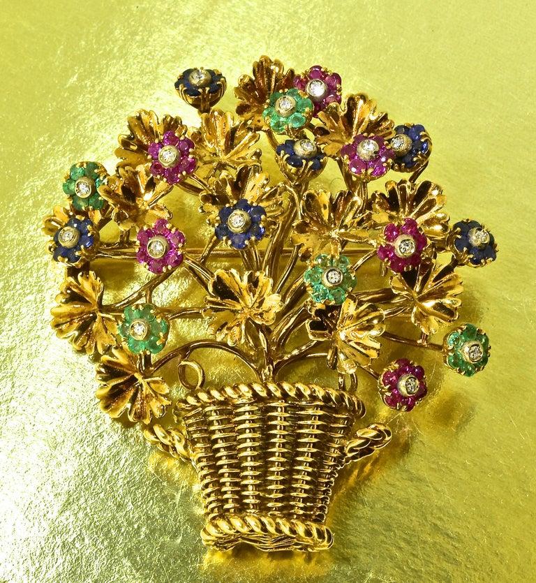 Brilliant Cut Tiffany Retro Ruby, Sapphire, Emerald, Diamond Brooch, circa 1965 For Sale