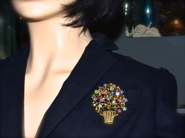 Tiffany Retro Ruby, Sapphire, Emerald, Diamond Brooch, circa 1965 In Excellent Condition For Sale In Aspen, CO