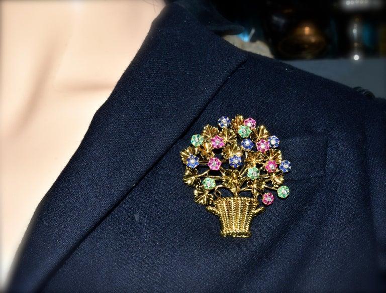 Women's or Men's Tiffany Retro Ruby, Sapphire, Emerald, Diamond Brooch, circa 1965 For Sale