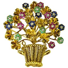 Tiffany Retro Ruby, Sapphire, Emerald, Diamond Brooch, circa 1965