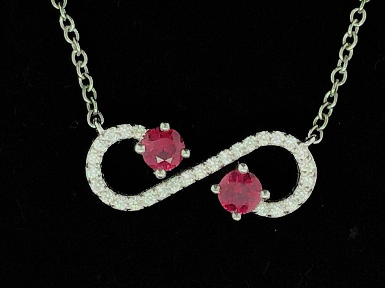 Round Cut Tiffany & Co. Ruby and Diamond Enchant Platinum Pendant For Sale