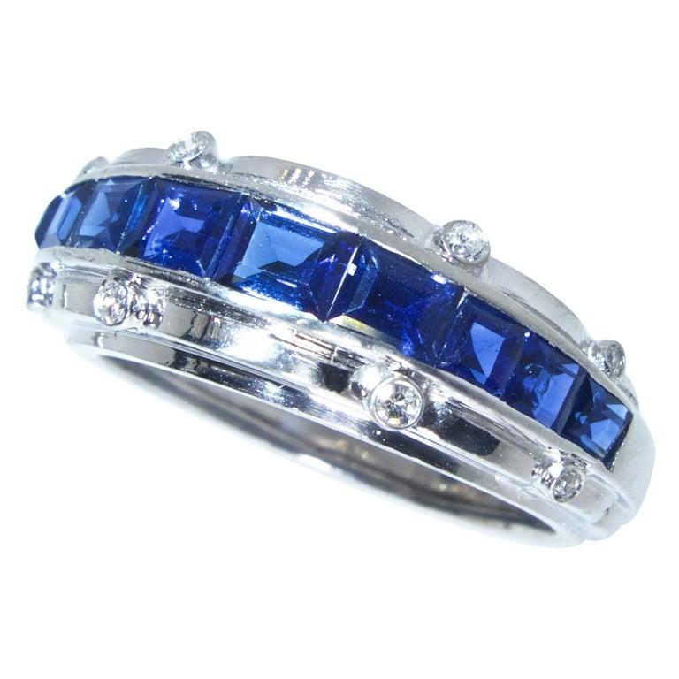 Tiffany & Co. Sapphire and Diamond Art Deco Band Ring, circa 1930 In Excellent Condition For Sale In Aspen, CO