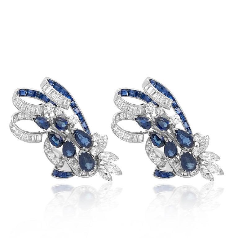 Retro Tiffany & Co. Sapphire and Diamond Double-Clip Brooch For Sale
