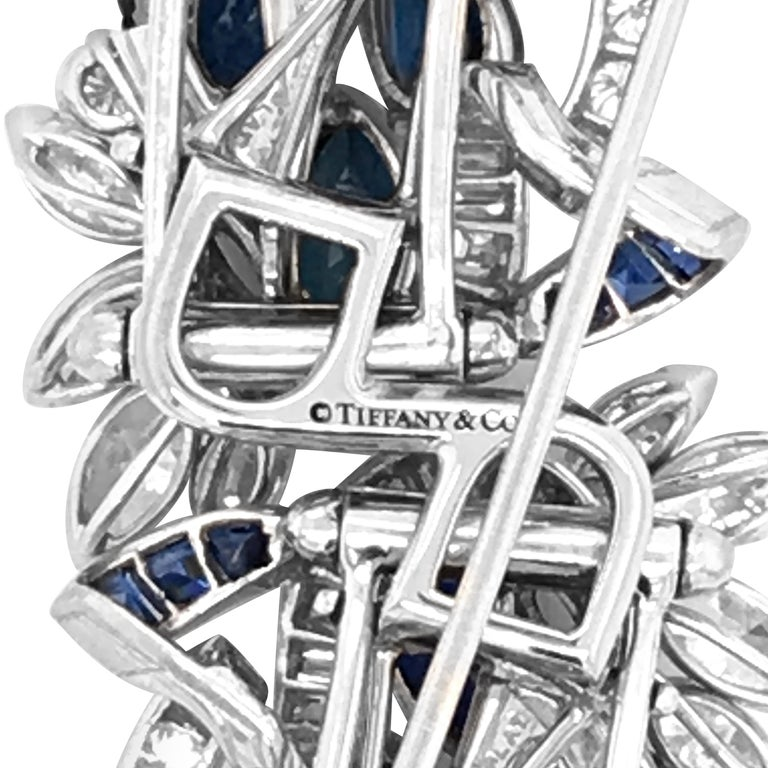 Marquise Cut Tiffany & Co. Sapphire and Diamond Double-Clip Brooch For Sale
