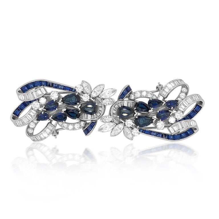Women's or Men's Tiffany & Co. Sapphire and Diamond Double-Clip Brooch For Sale