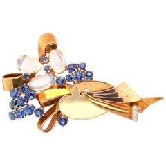 Tiffany Sapphire Moonstone Pin