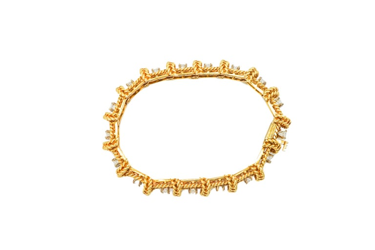 Tiffany & Co. Schlumberger 18 Karat Gold and Diamond Bracelet In Excellent Condition In New York, NY