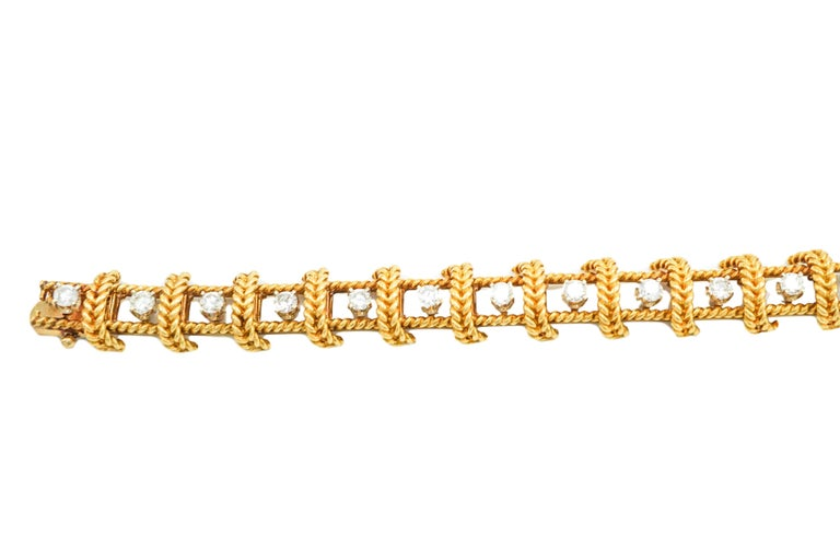 Women's or Men's Tiffany & Co. Schlumberger 18 Karat Gold and Diamond Bracelet