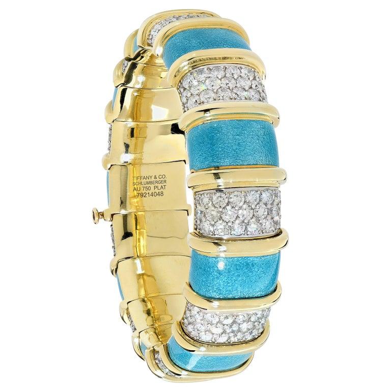 Modern Tiffany Schlumberger Blue Enamel and Diamond Bracelet For Sale