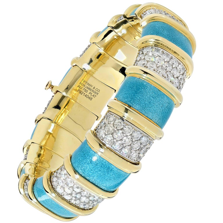 Tiffany Schlumberger Blue Enamel and Diamond Bracelet In Excellent Condition For Sale In Coral Gables, FL