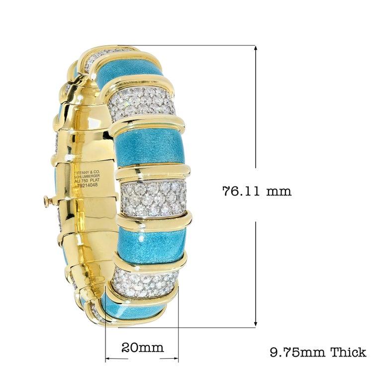 Women's Tiffany Schlumberger Blue Enamel and Diamond Bracelet For Sale