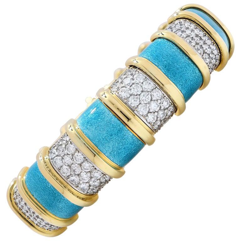 Tiffany Schlumberger Blue Enamel and Diamond Bracelet For Sale