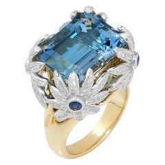 Tiffany & Co. Schlumberger Daisy Aquamarine and Diamond Ring