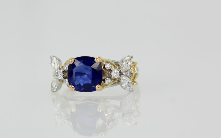 Artisan Tiffany & Co. Schlumberger Double Bee Ring with Blue Sapphire Diamonds For Sale