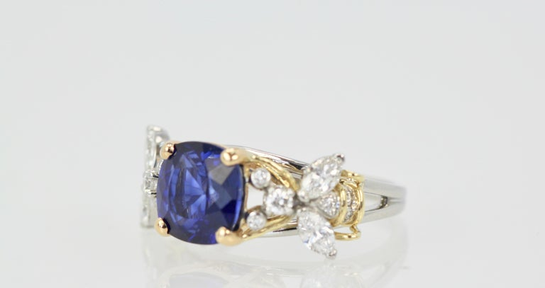 Cushion Cut Tiffany & Co. Schlumberger Double Bee Ring with Blue Sapphire Diamonds For Sale