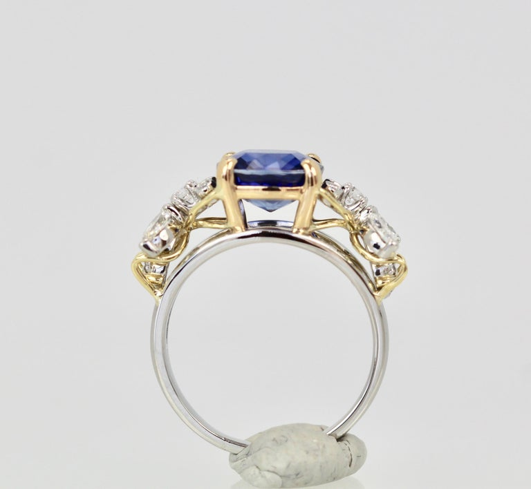 Women's Tiffany & Co. Schlumberger Double Bee Ring with Blue Sapphire Diamonds For Sale