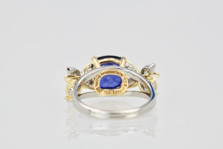 Tiffany & Co. Schlumberger Double Bee Ring with Blue Sapphire Diamonds For Sale 1