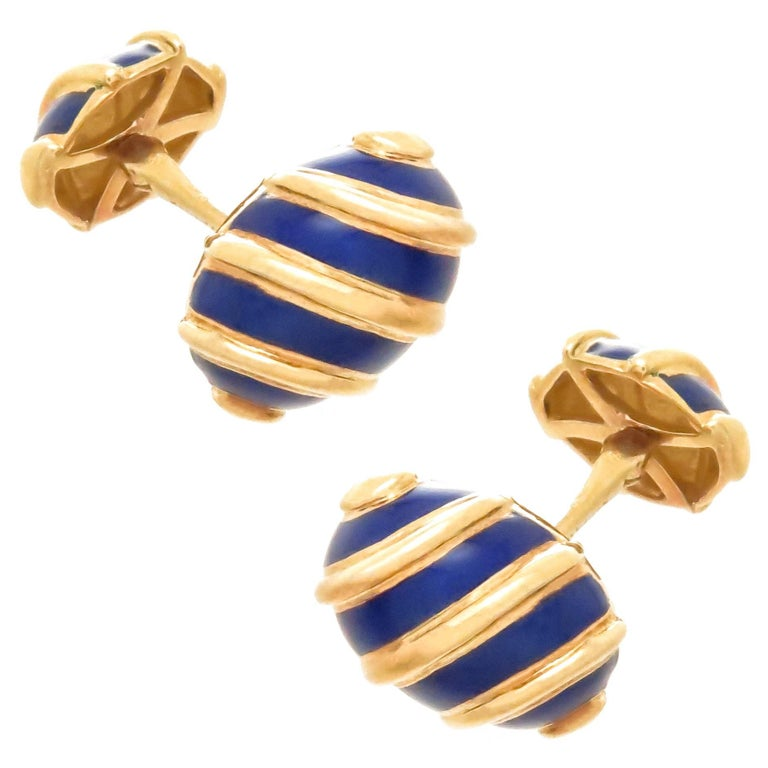 Tiffany & Co. Schlumberger Gold and Enamel Cufflinks