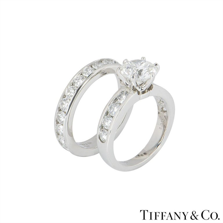 Women's Tiffany Setting Collection Diamond Solitaire Ring & Eternity Band 2.04ct F/VS1 For Sale