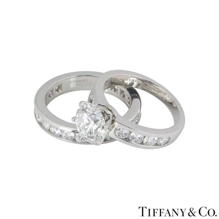 Tiffany Setting Collection Diamond Solitaire Ring & Eternity Band 2.04ct F/VS1 For Sale 1
