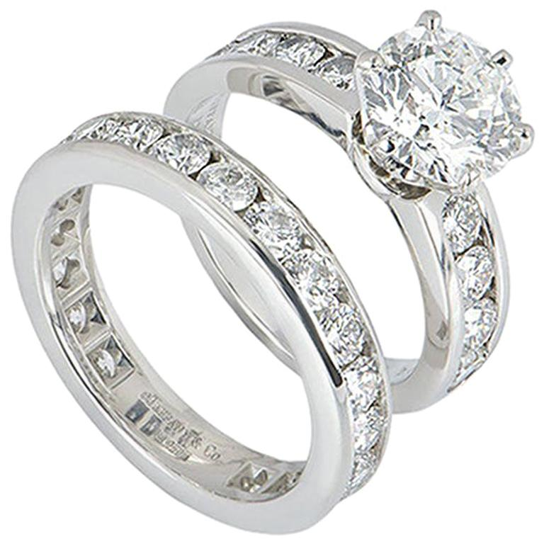 Tiffany Setting Collection Diamond Solitaire Ring & Eternity Band 2.04ct F/VS1 For Sale