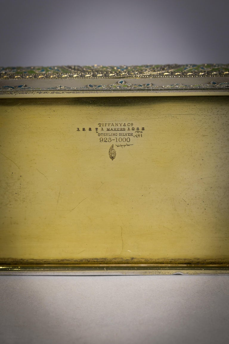 American Tiffany Silver and Enamel Box, circa 1900 For Sale