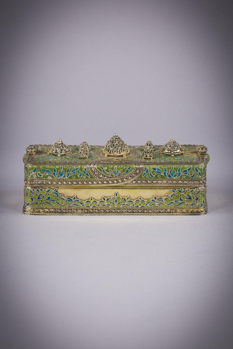 Tiffany Silver and Enamel Box, circa 1900 In Excellent Condition For Sale In New York, NY