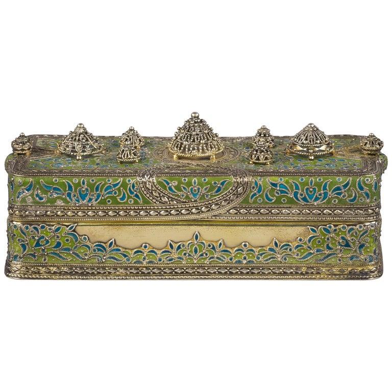 Tiffany Silver and Enamel Box, circa 1900 For Sale